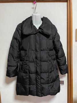 イングBIG襟中綿コート黒ブラックMビッグカラーロングコート美品