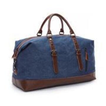 ボストンバッグ 旅行鞄 超大容量 キャンバス 底固い ネイビー