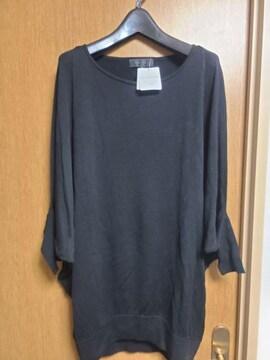 アンタイトル昨季新品黒シルク混ドルマンカットソー春ニット大きいサイズ411号13号