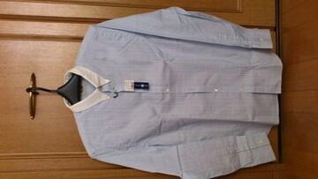 激安89%オフアクネ、長袖シャツ(新品タグ、青白ストライプ、L)