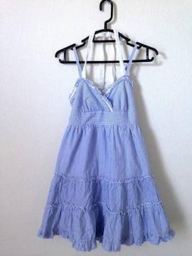 ピンクミックス◆ブルー ギンガムチェック Aライン ワンピース