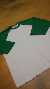 PROCLUBラグラン 七分袖 切り返し Tシャツ 白緑 XL