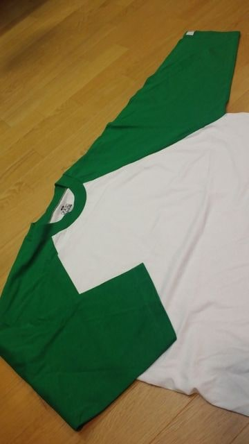 PROCLUBラグラン 七分袖 切り返し Tシャツ 白緑 XL < 男性ファッションの