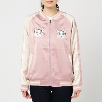 アルシーヴ・白猫フェイス刺繍スカジャン。