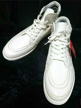 新品 25.5cm アスビー ASBEE ハイカット スニーカー 白 ホワイト