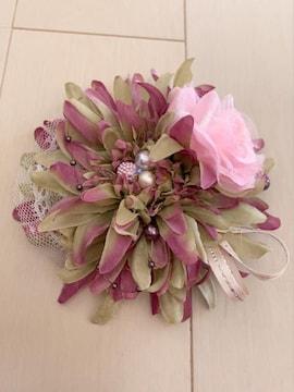黄緑紫グラデ薔薇パールリボンレース可愛いダリアコサージュ