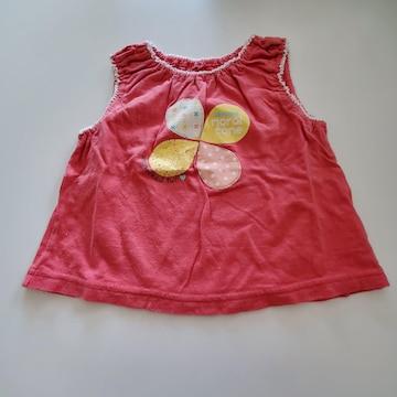 赤に四つ葉柄ふちの袖なしTシャツ90