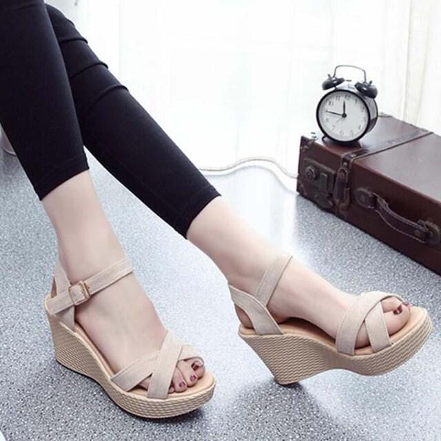Y204即決 新品 厚底 ウェッジソール 黒 23cm エスペランサ ダイアナ 好きに < 女性ファッションの