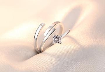 指輪 ペアリング 1粒ジルコニア☆フリーサイズ