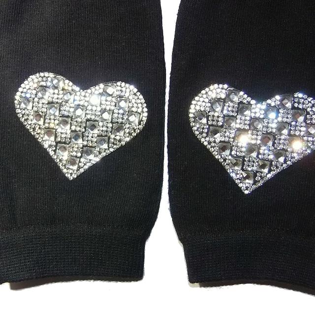 ラインストーン ハート ワッペン ハンドカバー グローブ 指なし 手袋 < 女性ファッションの