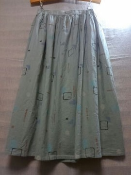 ●SUN VALLEY●コットン*リネン 手描き風柄 スカート 新品