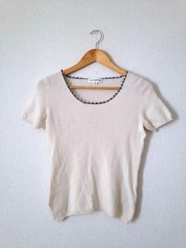 バーゼエヌオボ★カシミア30%  襟かぎ編み ニット セーター