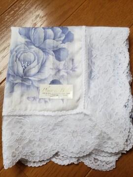 ☆新品☆レース使いブルー花柄ハンカチ