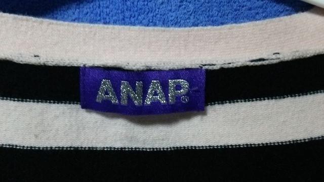 ANAP★ピンク&黒ボーダ−綿ニットカ−ディガン < 女性ファッションの
