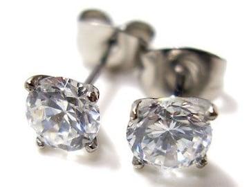 幅0.2cm1粒CZダイヤモンドステンレスピアス