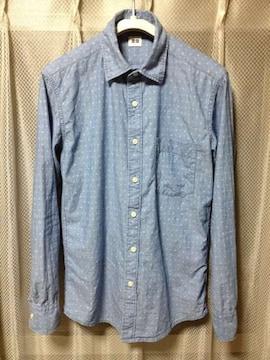 UNIQLO ユニクロ 総柄(水玉) 長袖シャツ Sサイズ ライトブルー 青水色 デニム