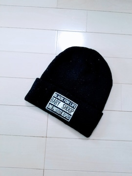 新品◆baby shoop◆ロゴ刺繍ワッペンニット帽 黒◆シュープ帽子
