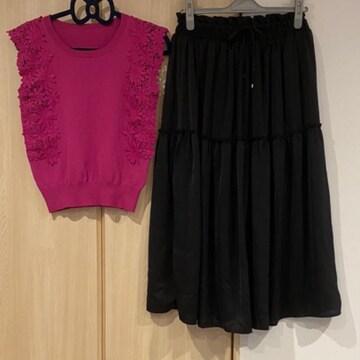 コーデセット★フラワーレーストップス+ギャザーロングスカート