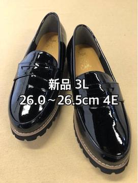 新品☆3L26〜26.5cm幅広4Eエナメル調ローファー風シューズ☆d484