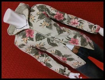 特価品 綿麻プリペラ花柄ボタニカルフードJKT/BEIGE/M