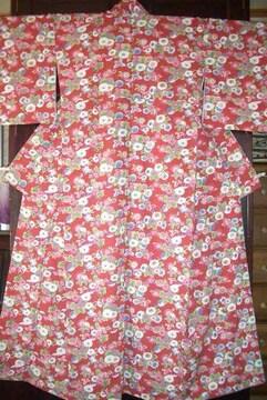 蝶々と饅頭菊紋様 洗える袷のお着物
