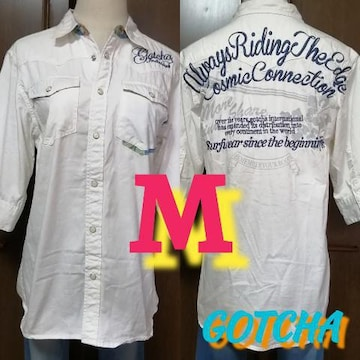 M/GOTCHA☆半端袖2way英字ロゴ刺繍ボタニカルシャツ
