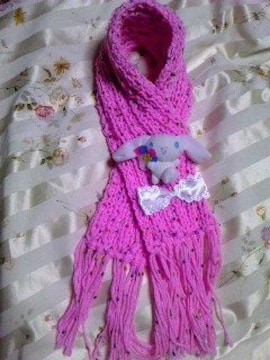 A11手編みミニマフラー リボン ピンク
