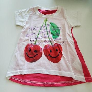 白とピンクのさくらんぼの半袖Tシャツ90