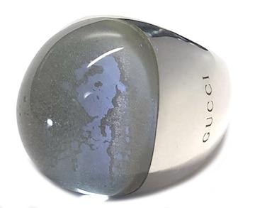 正規グッチシルバーリング指輪SV925ロゴストーン13レテ