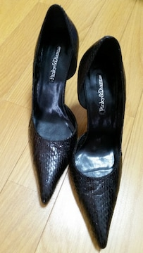 ピンキー&ダイアン クロコ柄ヒール 黒 M