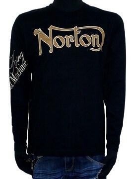 新品正規NortonフェイクスウェードワッペンロンTロゴ刺繍