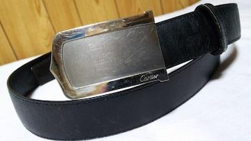 正規 カルティエ アルディロン ロング2Cプレートバックル ベルト黒×茶 調節可 メンズ L