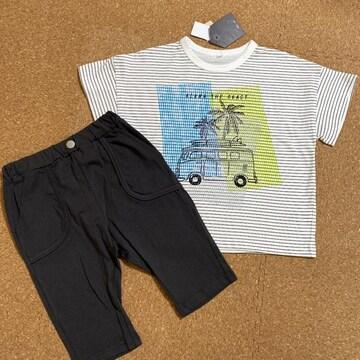 新品タグ付き130半袖Tシャツ短パンセットアップ綿100%