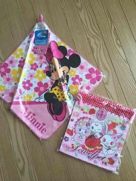 ミッキーマウス紐付きハンドタオル+ジュエルペット巾着2点セット