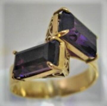 K18 18金 リング 指輪 神秘的なアメシスト 2ヶ付