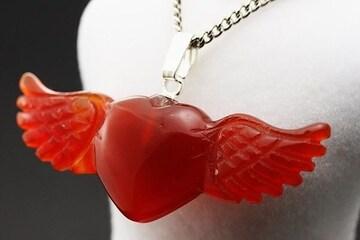 天使のハートペンダントトップ☆カーネリアン☆約4cm