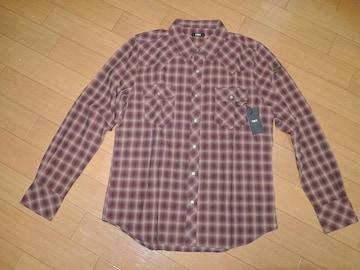 新品TMTウエスタンチェックシャツL赤茶系F16定価23000円