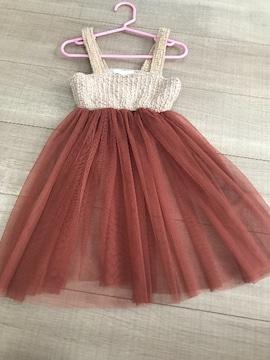 韓国子供服チュニックワンピ5女の子90〜美品チュール