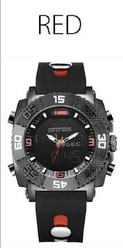 NEW★アナログ&デジタル・ビッグフェイス腕時計FSMB18RED