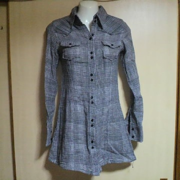 EGOIST/エゴイスト白×黒 チエック柄 ガーゼ素材シャツ ワンピース