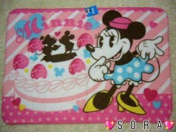 ディズニー【ミニーマウス】可愛い♪フリースブランケット(便利なボタン付)