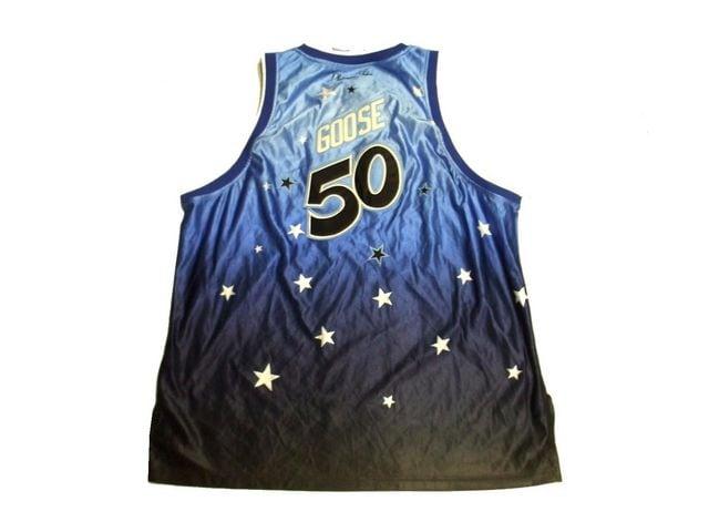 セール新品PlatinumFUBU★グラデーションゲームシャツ3XLブルーオーバーサイズ < ブランドの