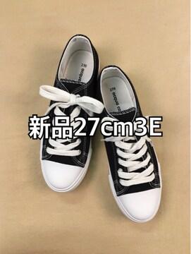 新品☆レディス27.0cm黒キャンバス地ローカットスニーカー☆j297