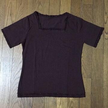 ダークブラウン スクエアネック×レース半袖TシャツM 伸縮性抜群