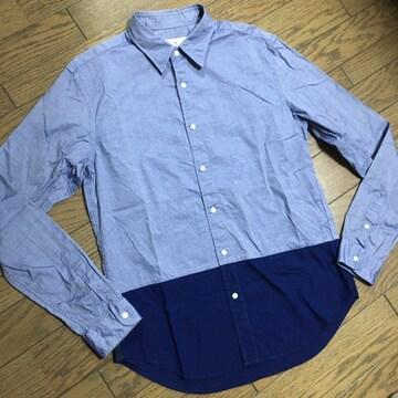 美品 EDIFICE バイカラー シャンブレーシャツ エディフィス