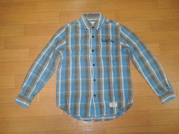 ワコマリア WACKO MARIA チェックシャツ S 青系 ネル 刺繍