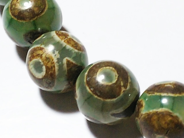 天然石★グリーンオニキス 龍紋三眼天珠10mm 半連