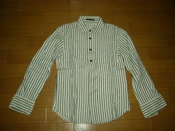 カミエラCAMIERAヘンプ混ストライプシャツ48マリン囚人