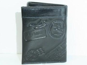 (WA-9202)FIFTEEN SIXTEENブラック2つ折り財布