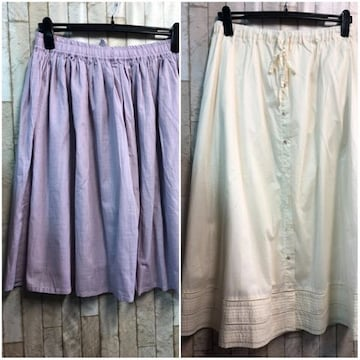 新品☆LLコットン素材ウエストゴム綿スカート2枚セットで♪j139